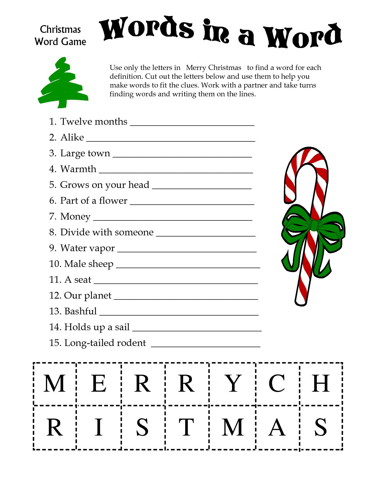 Declarative image with regard to printable christmas word games