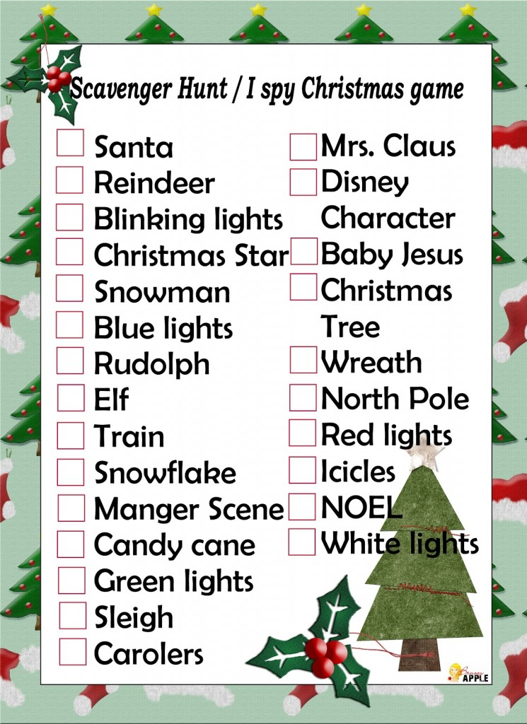 Printable Christmas Scavenger Hunt Game