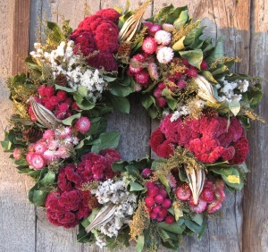 Pink and Green Christmas Wreath
