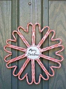 Christmas Candy Cane Heart Wreath