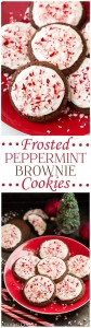 Frosted Peppermint Brownie Cookies