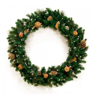 Gold Christmas Wreath with Lights