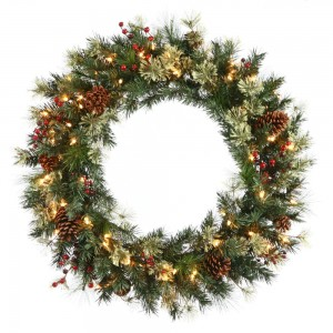 Christmas Wreath Pine Cones Berries