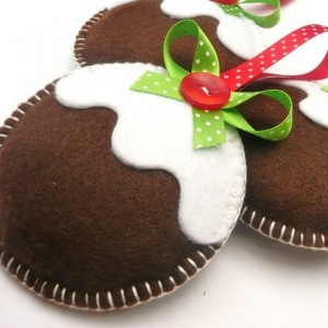 Pudding Christmas Felt Decorations