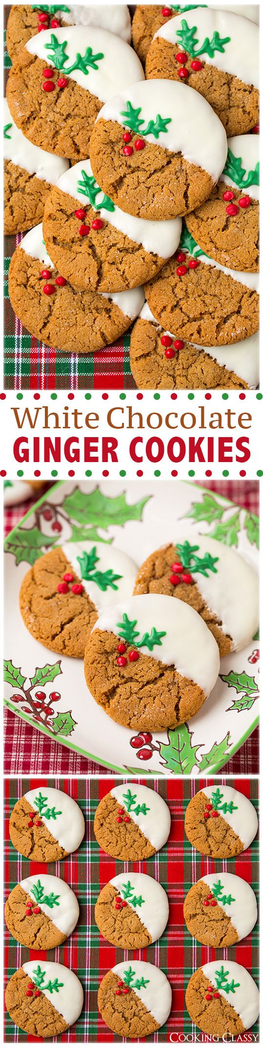 White Chocolate Dipped Ginger Cookies Xmaspin